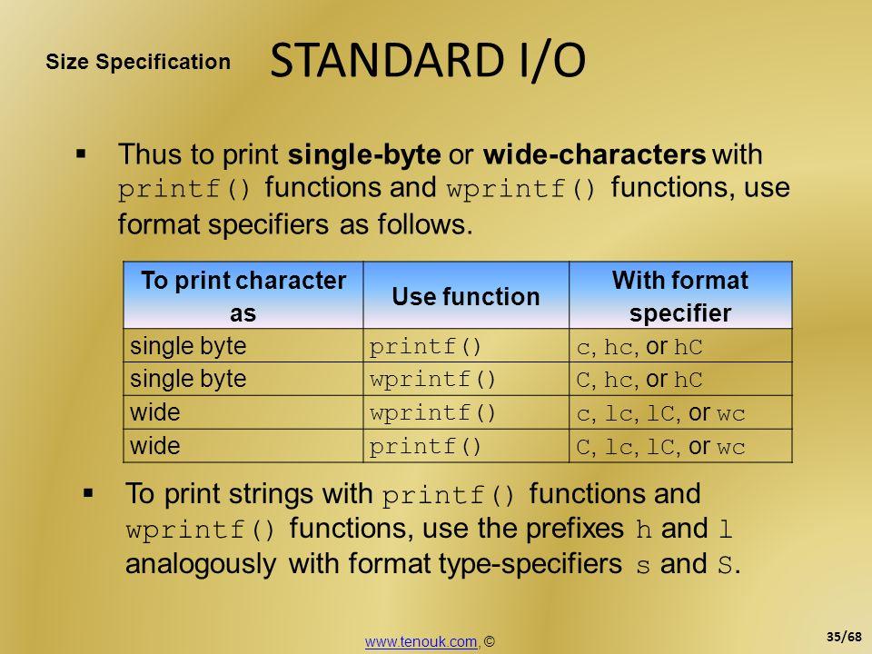 STANDARD I/O Size Specification.