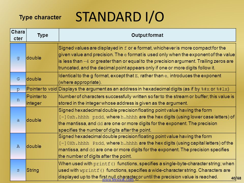 STANDARD I/O Type character Character Type Output format g double