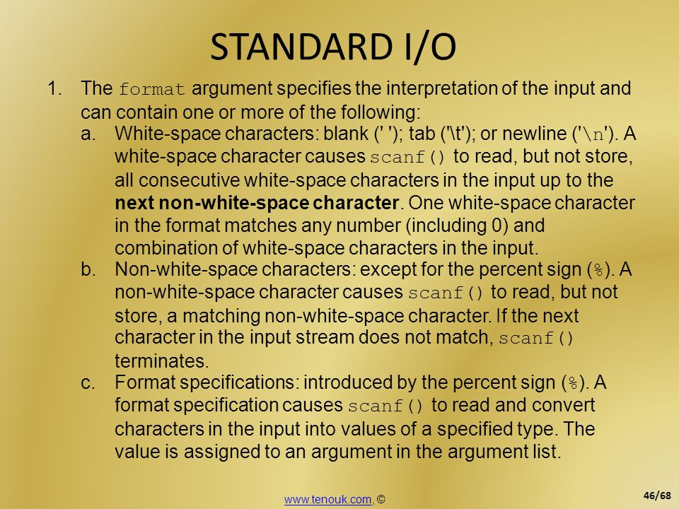 STANDARD I/O The format argument specifies the interpretation of the input and can contain one or more of the following: