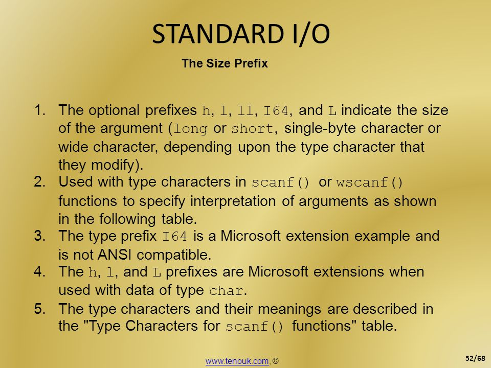 STANDARD I/O The Size Prefix.