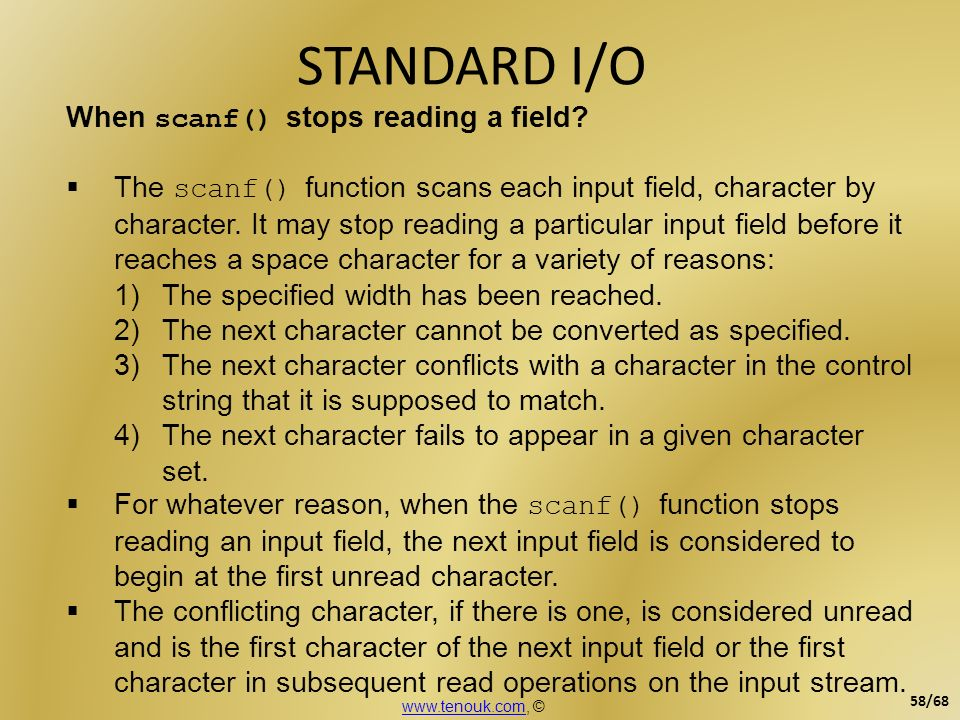 STANDARD I/O When scanf() stops reading a field