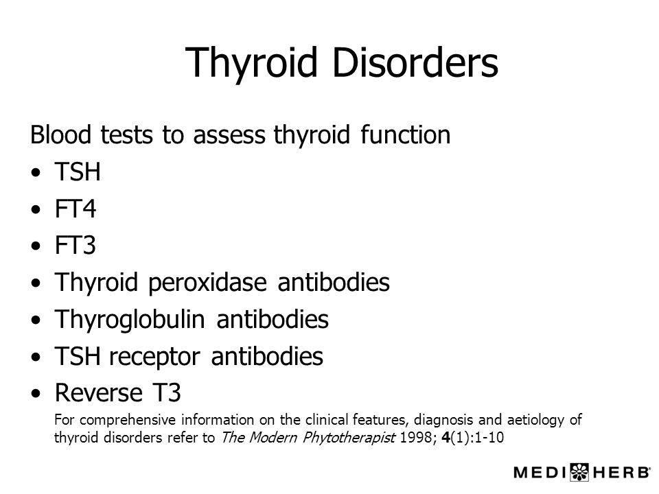 Thyroid Disorders Blood tests to assess thyroid function TSH FT4 FT3