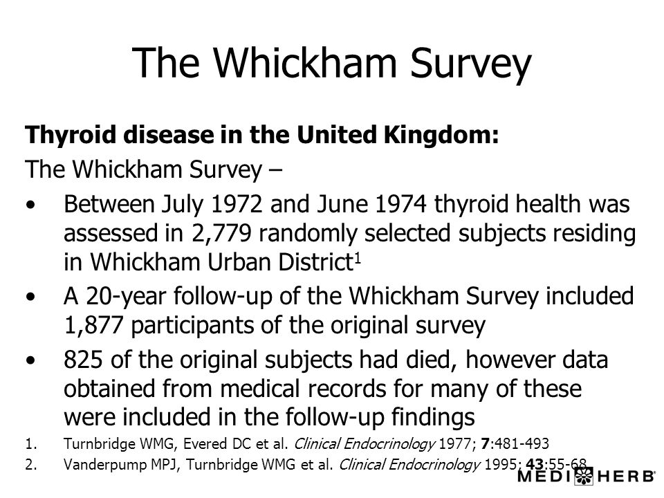 The Whickham Survey Thyroid disease in the United Kingdom: