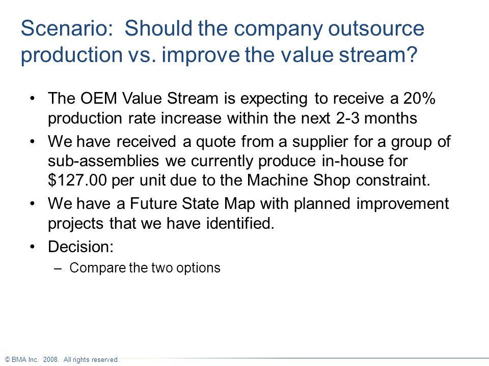 Scenario: Should the company outsource production vs