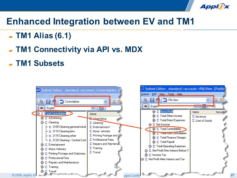 Enhanced Integration between EV and TM1