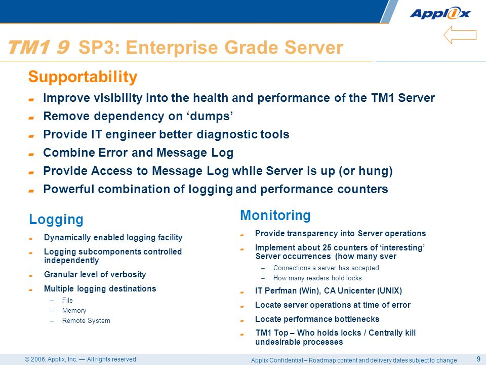 TM1 9 SP3: Enterprise Grade Server