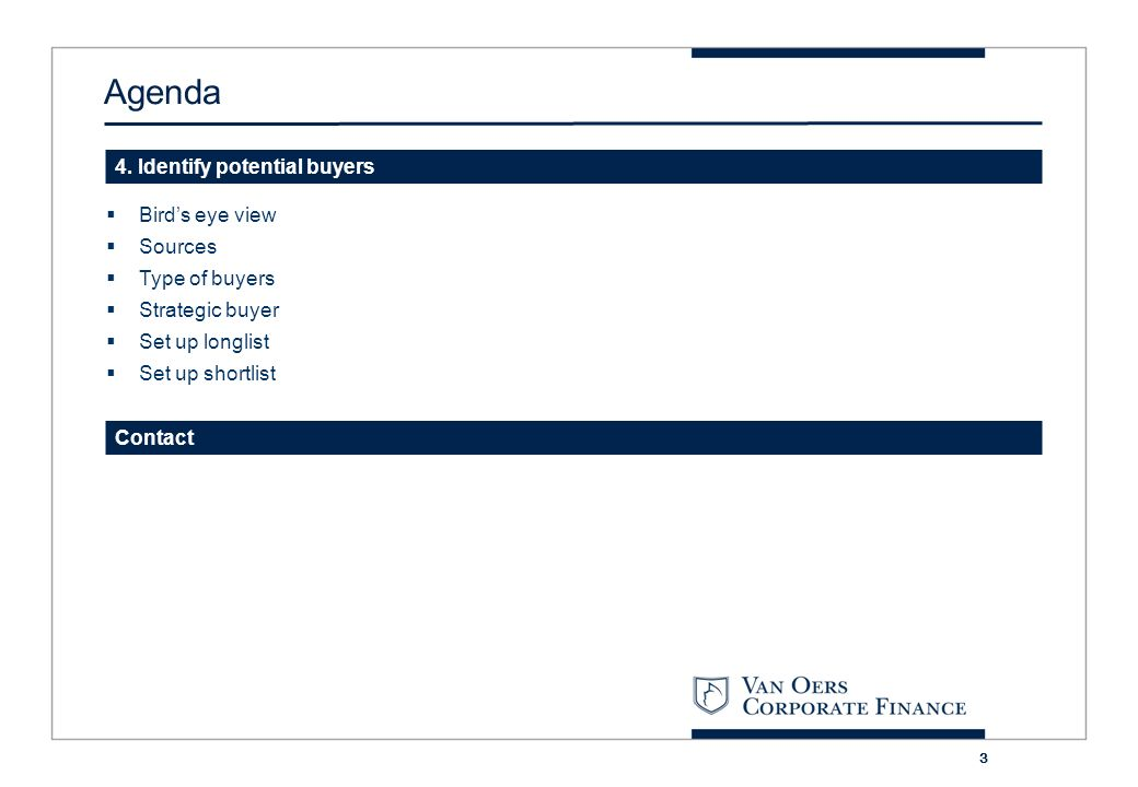 Agenda 4. Identify potential buyers Bird's eye view Sources