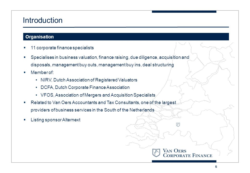 Introduction Organisation 11 corporate finance specialists
