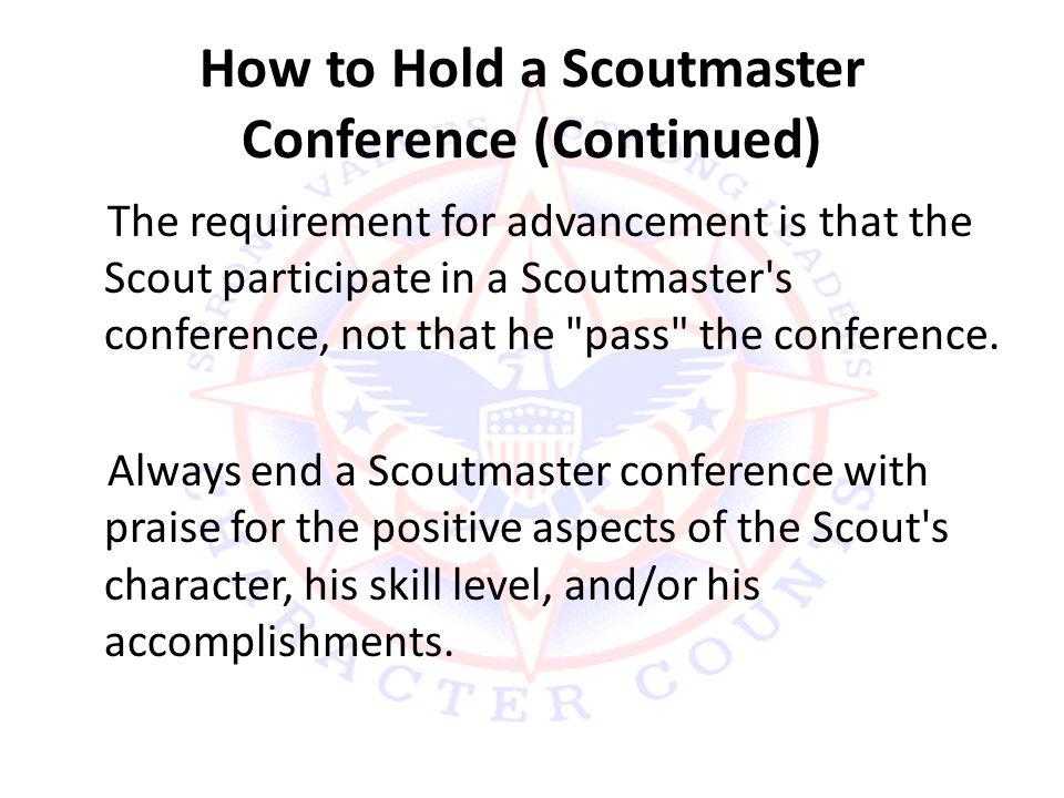 How to Hold a Scoutmaster Conference (Continued)