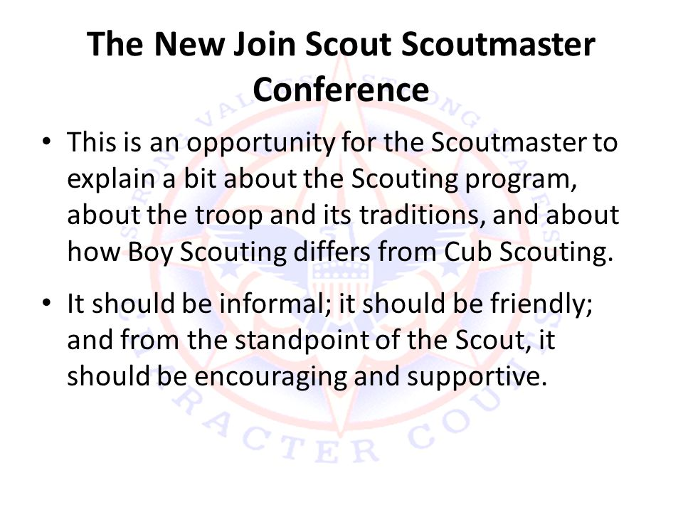 The New Join Scout Scoutmaster Conference