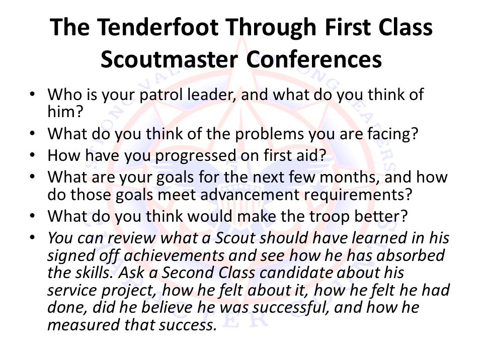 The Tenderfoot Through First Class Scoutmaster Conferences