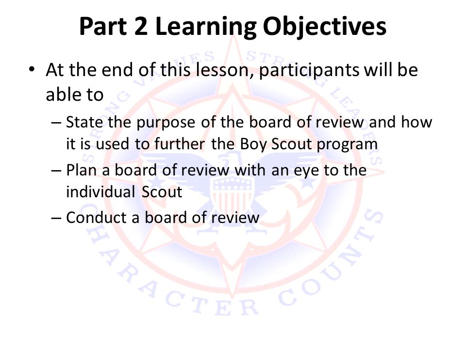 Part 2 Learning Objectives
