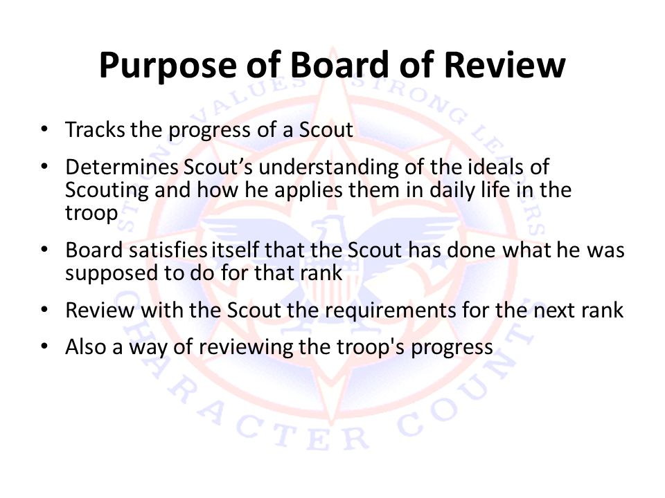 Purpose of Board of Review