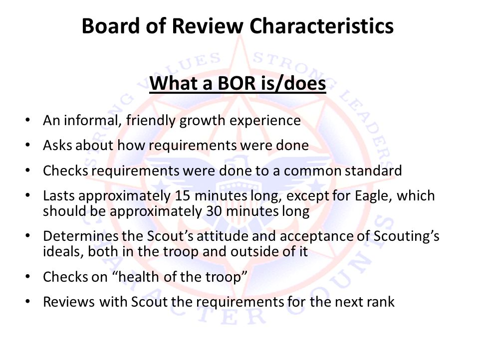 Board of Review Characteristics