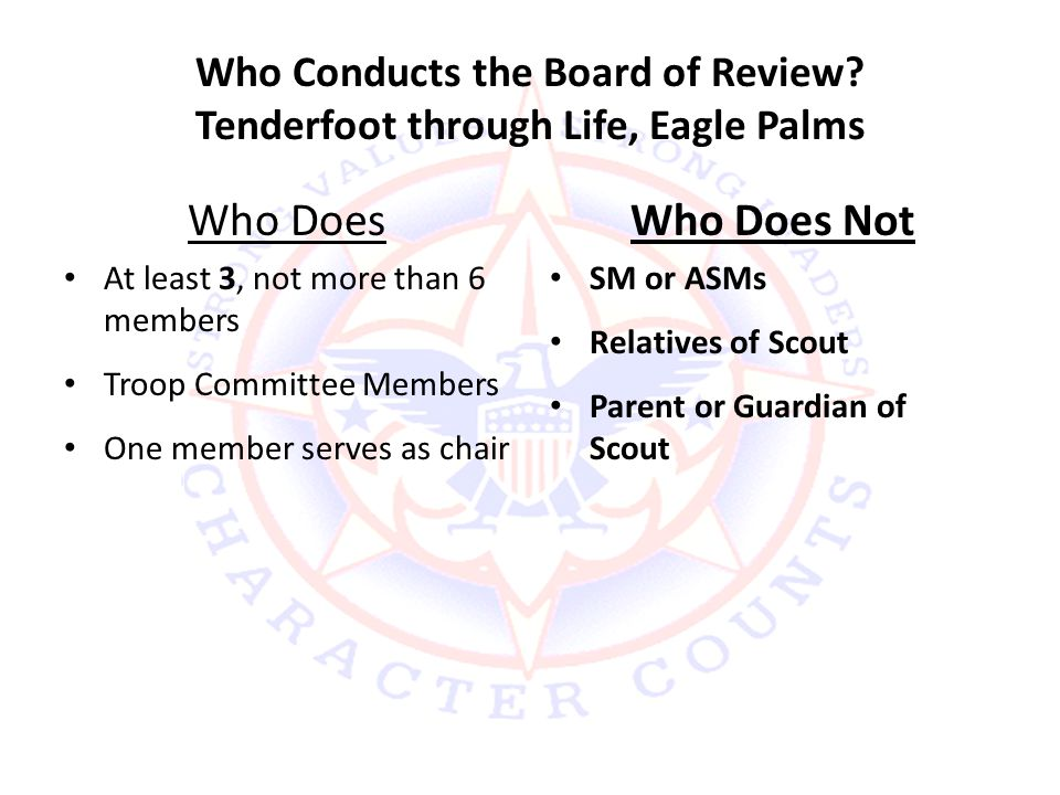 Who Conducts the Board of Review Tenderfoot through Life, Eagle Palms