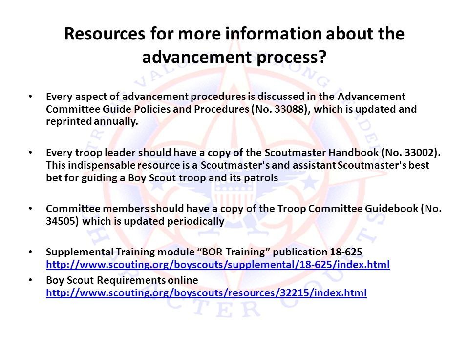 Resources for more information about the advancement process