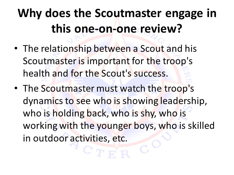 Why does the Scoutmaster engage in this one-on-one review