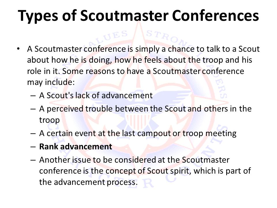 Types of Scoutmaster Conferences