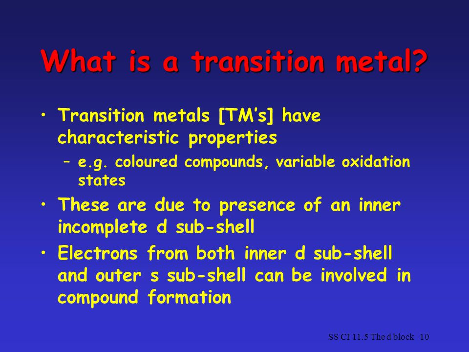 What is a transition metal