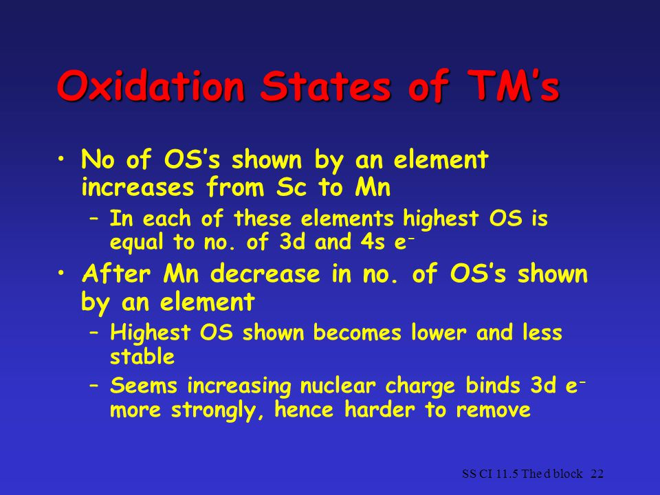 Oxidation States of TM's