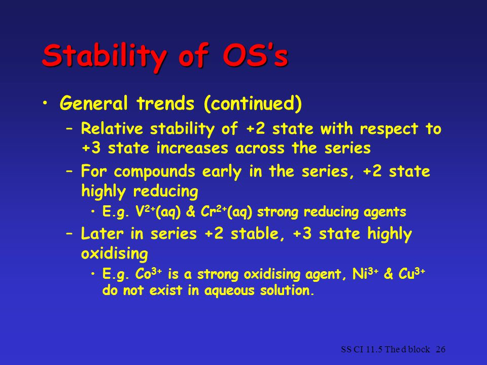 Stability of OS's General trends (continued)