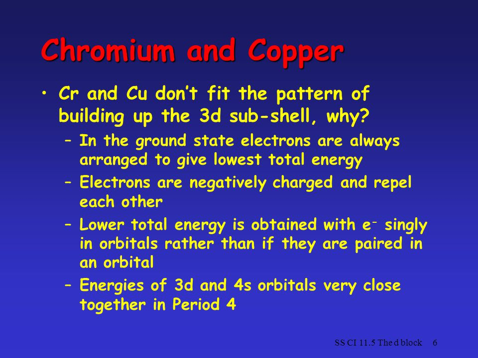 Chromium and Copper Cr and Cu don't fit the pattern of building up the 3d sub-shell, why
