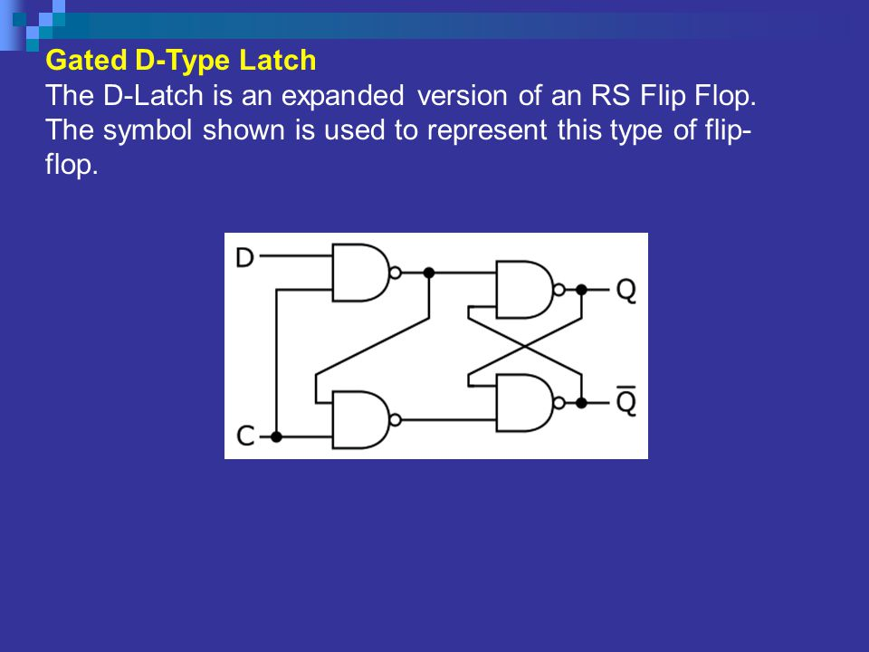 Gated D-Type Latch The D-Latch is an expanded version of an RS Flip Flop.