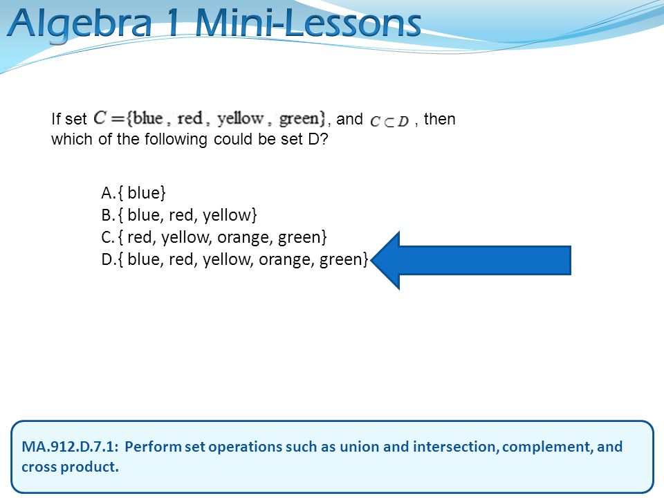 Algebra 1 Mini-Lessons { blue} { blue, red, yellow}