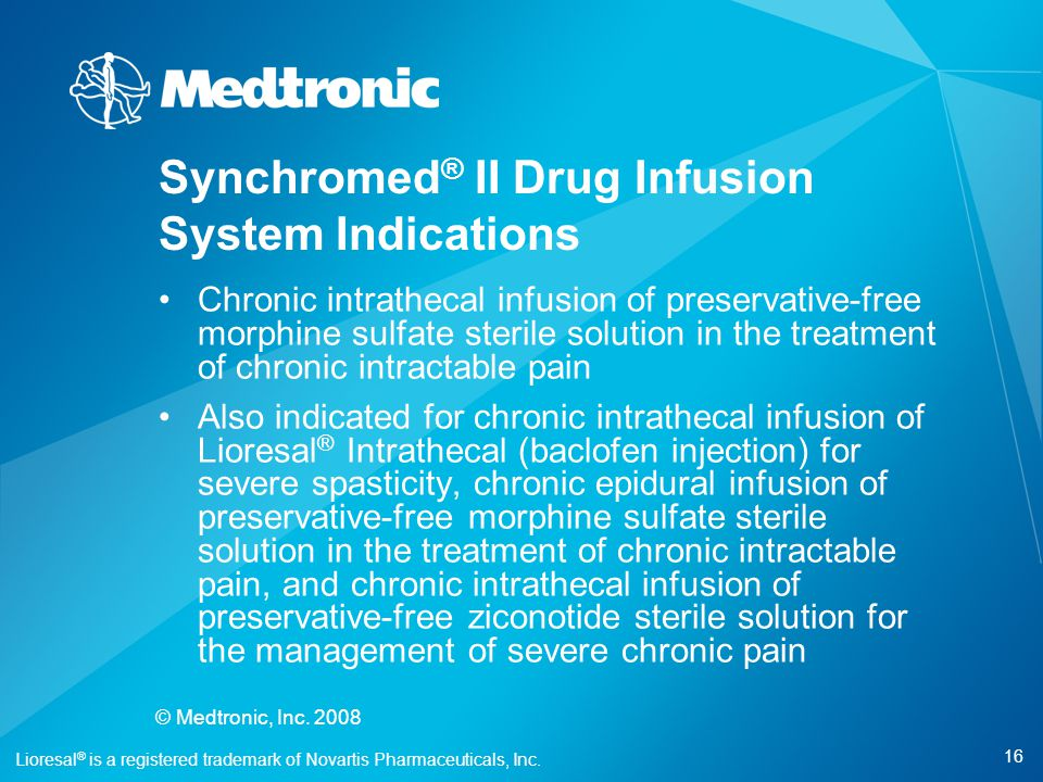 Synchromed® II Drug Infusion System Indications