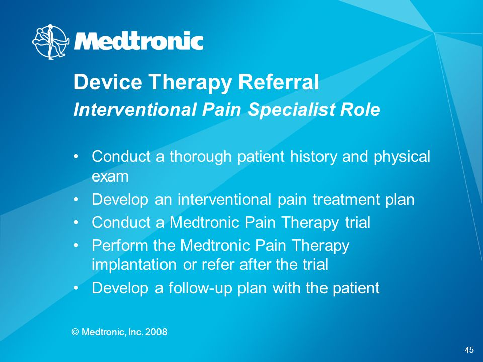 Device Therapy Referral Interventional Pain Specialist Role