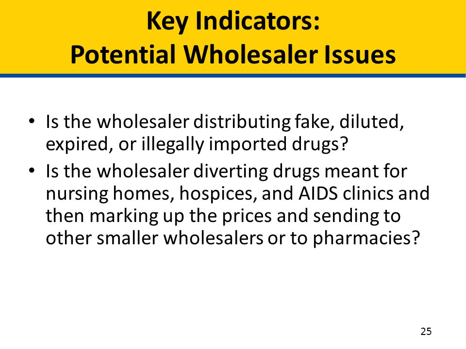 Key Indicators: Potential Wholesaler Issues