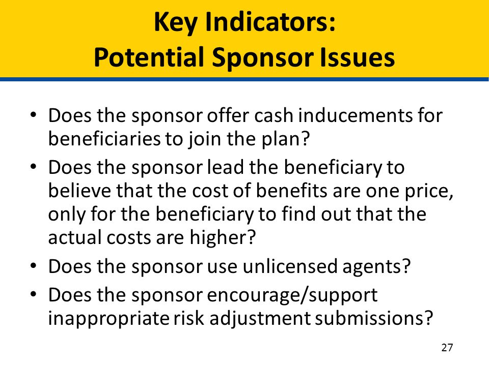 Key Indicators: Potential Sponsor Issues