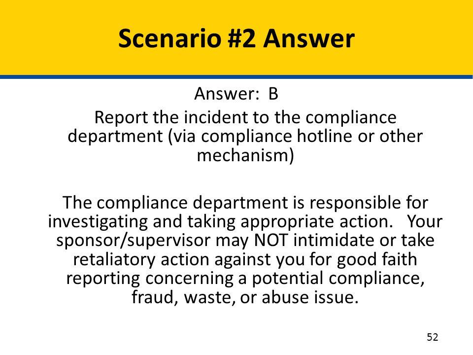 Scenario #2 Answer