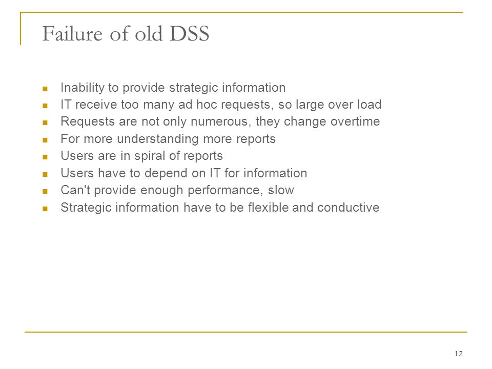 Failure of old DSS Inability to provide strategic information