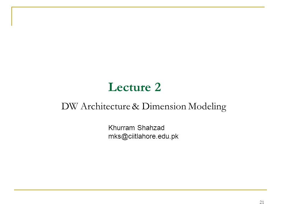 Lecture 2 DW Architecture & Dimension Modeling Khurram Shahzad