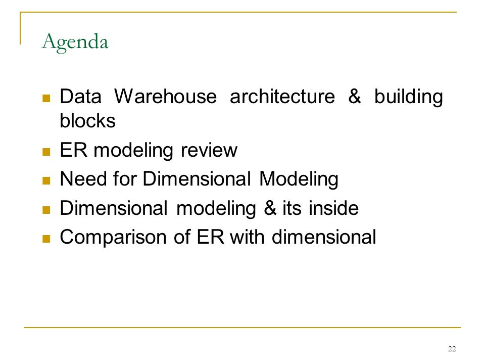 Agenda Data Warehouse architecture & building blocks