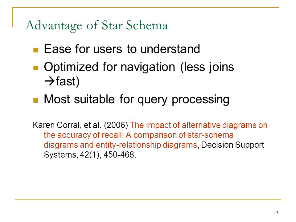 Advantage of Star Schema