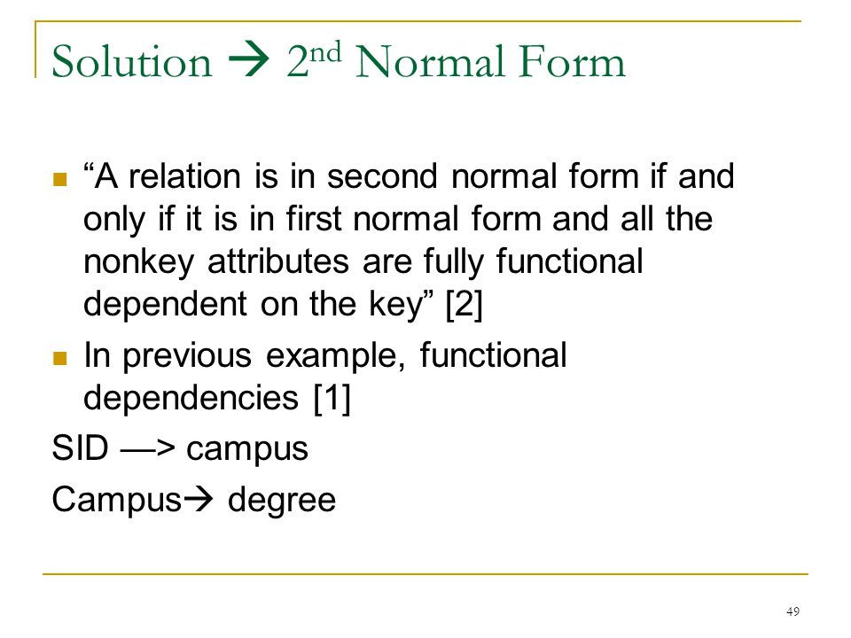 Solution  2nd Normal Form