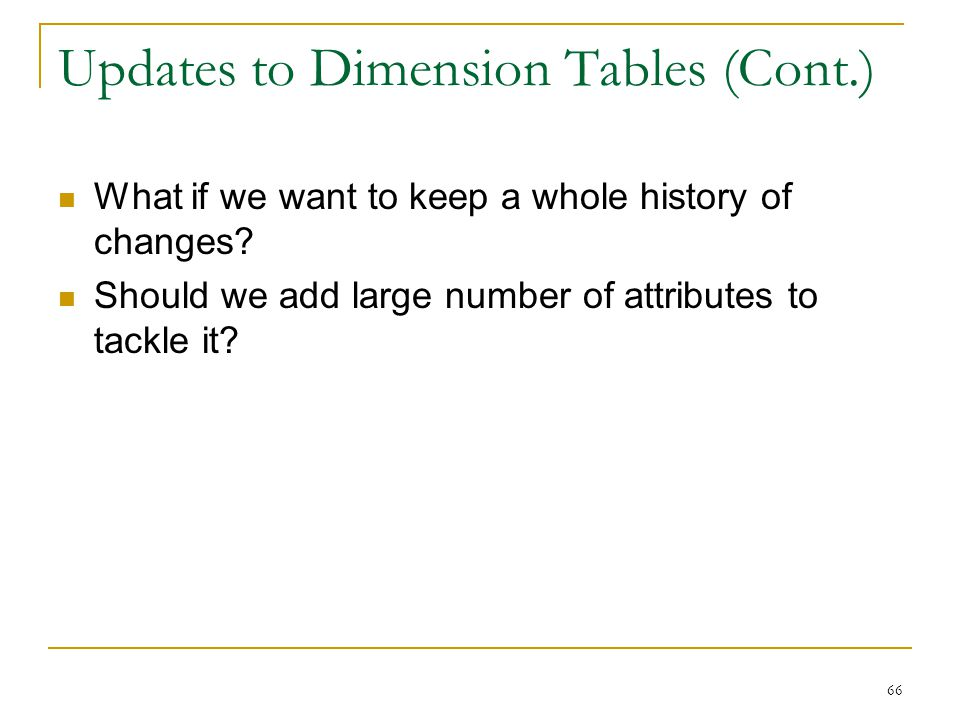 Updates to Dimension Tables (Cont.)