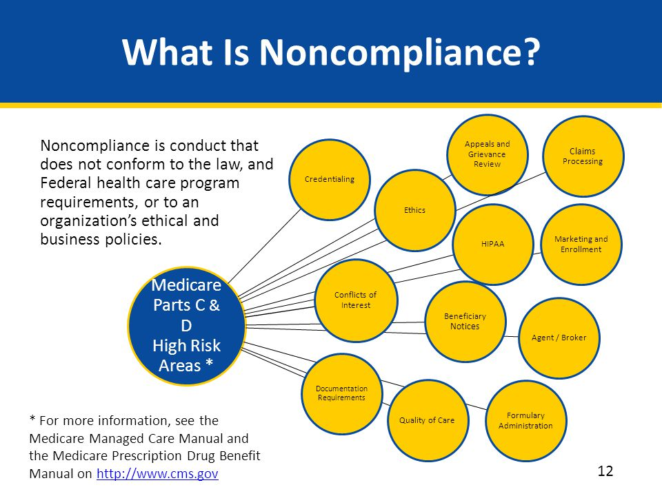 What Is Noncompliance Medicare Parts C & D High Risk Areas *