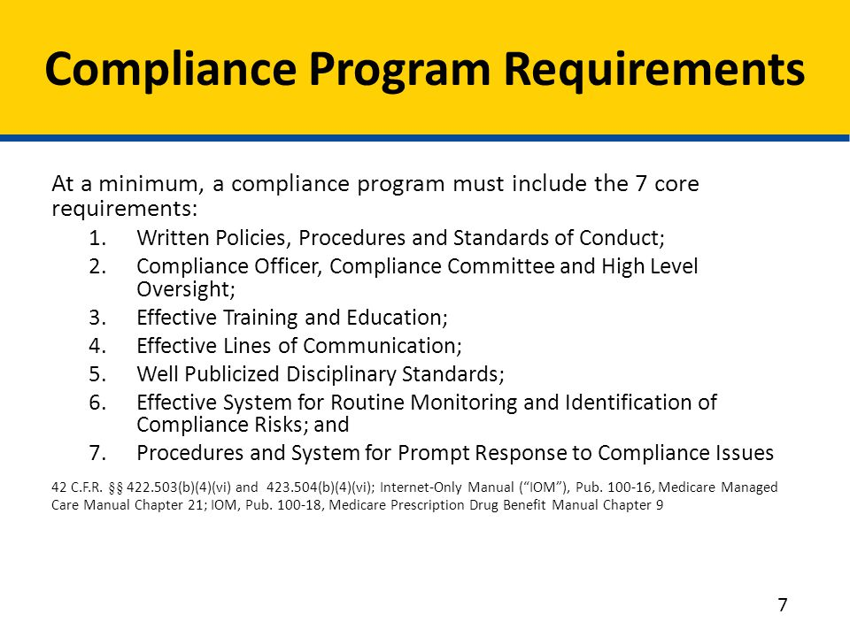Compliance Program Requirements