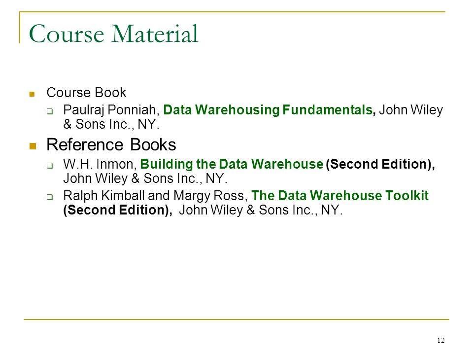 Course Material Reference Books Course Book