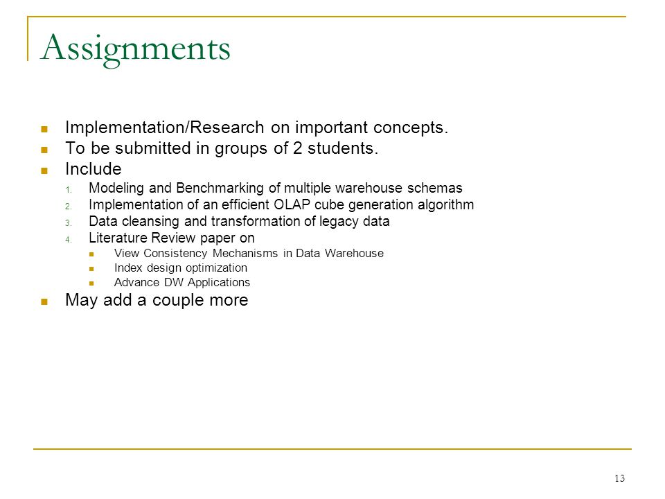 Assignments Implementation/Research on important concepts.