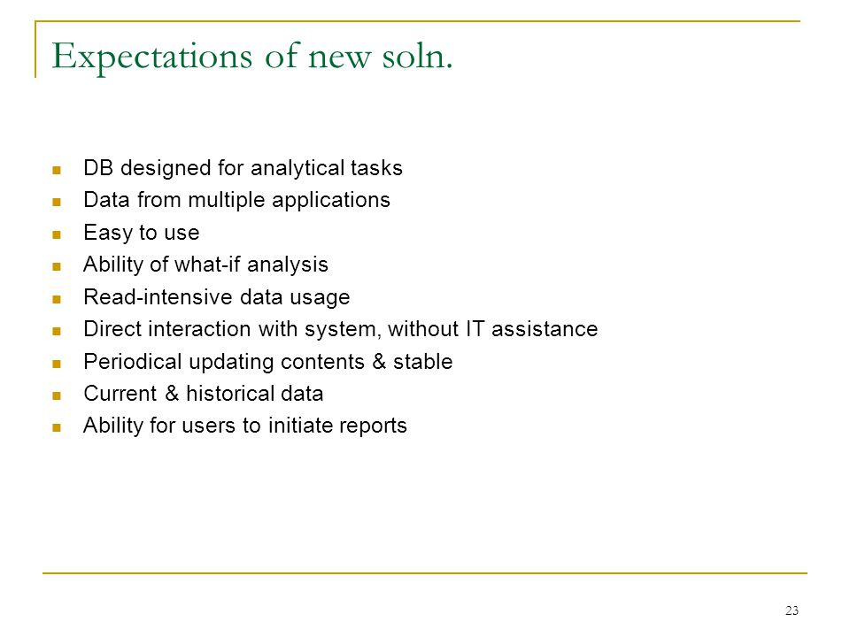 Expectations of new soln.