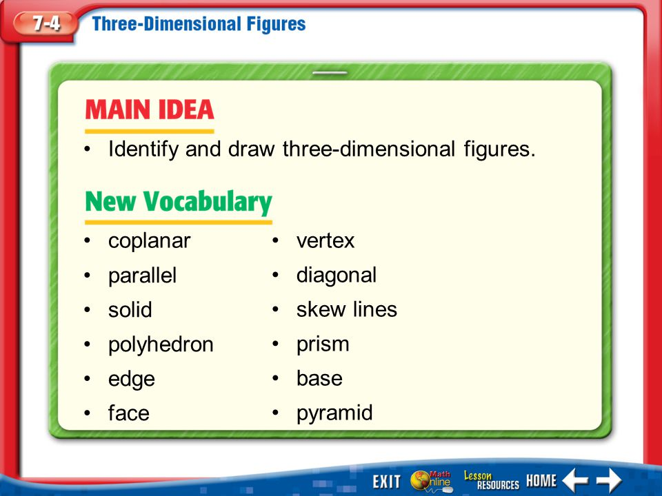 Identify and draw three-dimensional figures.