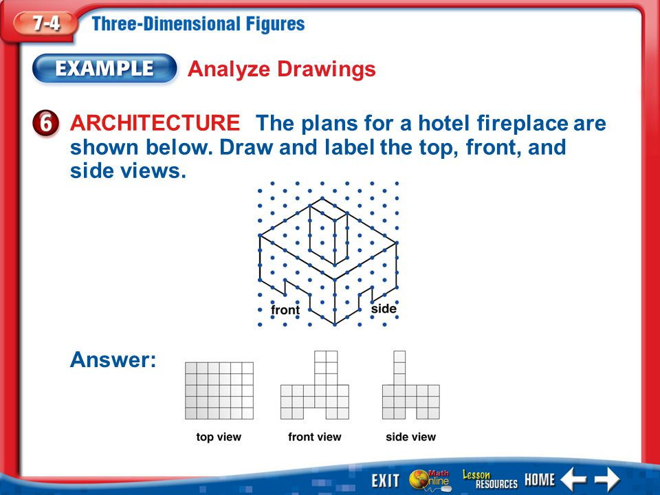 Analyze Drawings ARCHITECTURE The plans for a hotel fireplace are shown below. Draw and label the top, front, and side views.