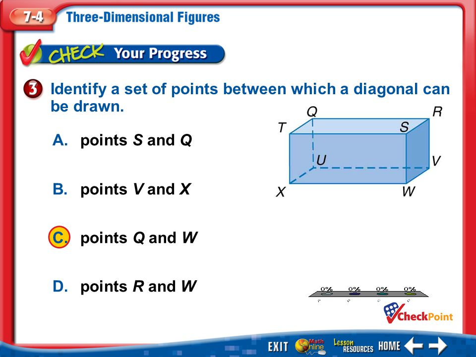 Identify a set of points between which a diagonal can be drawn.