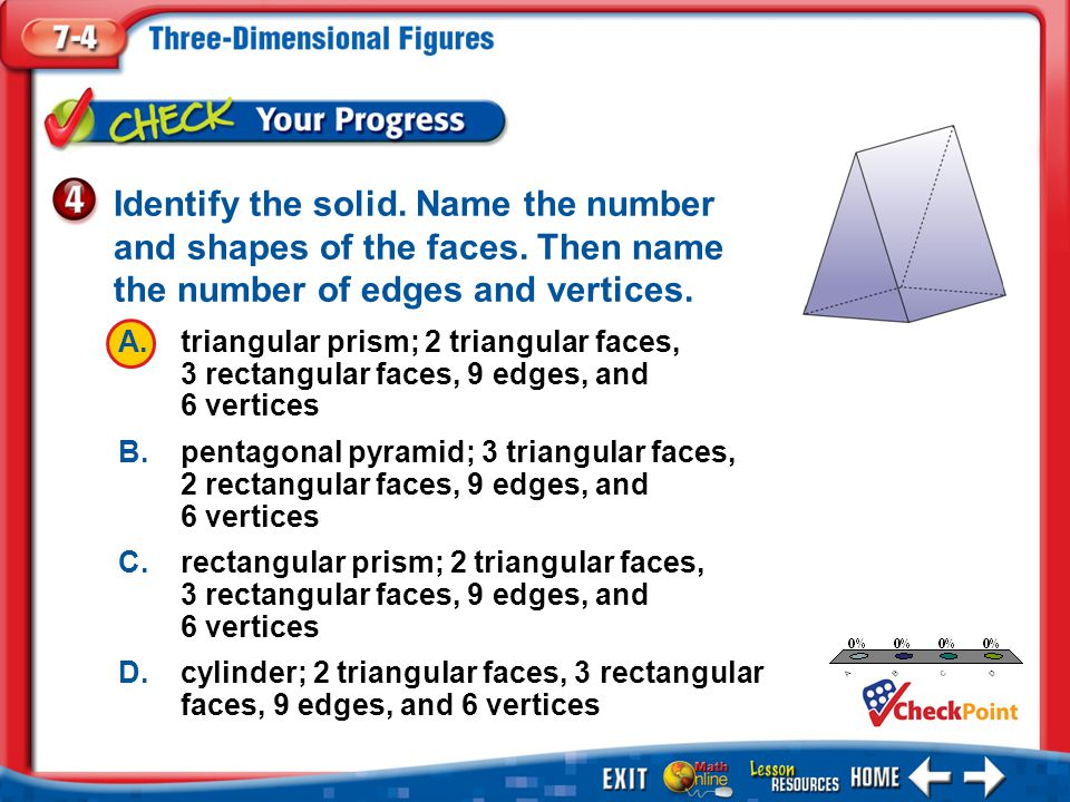 Identify the solid. Name the number and shapes of the faces