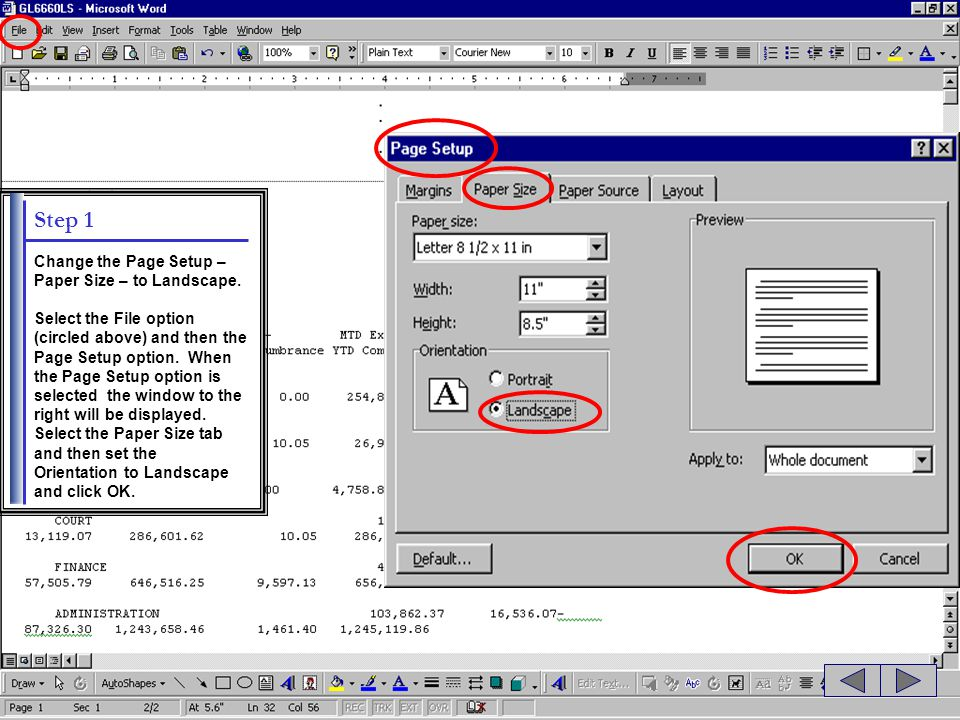 Step 1 Change the Page Setup – Paper Size – to Landscape.