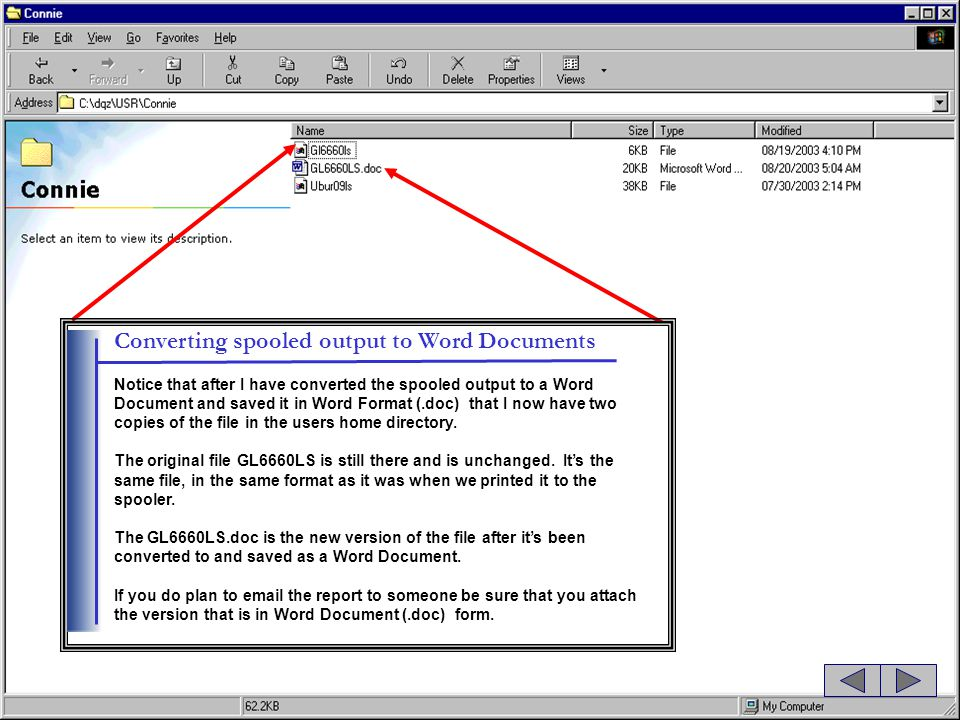 Converting spooled output to Word Documents